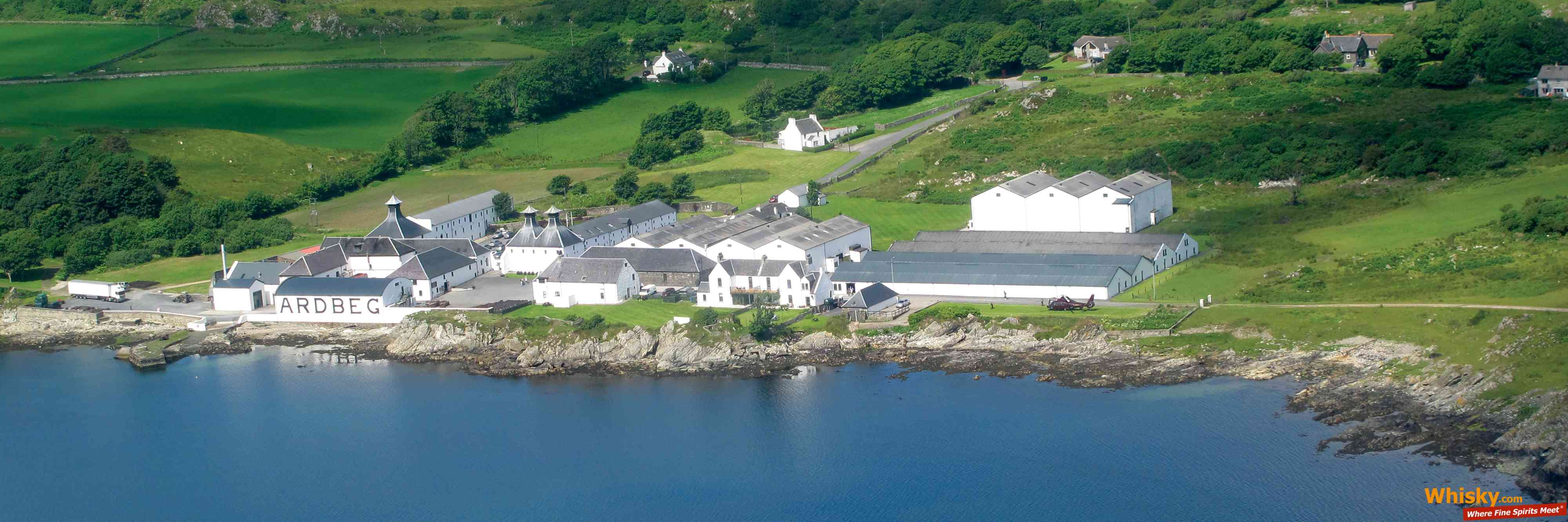 The Ardbeg distillery from Above