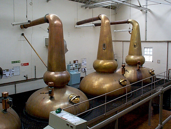 Pot stills with reflux bowls at the Strathmill distillery