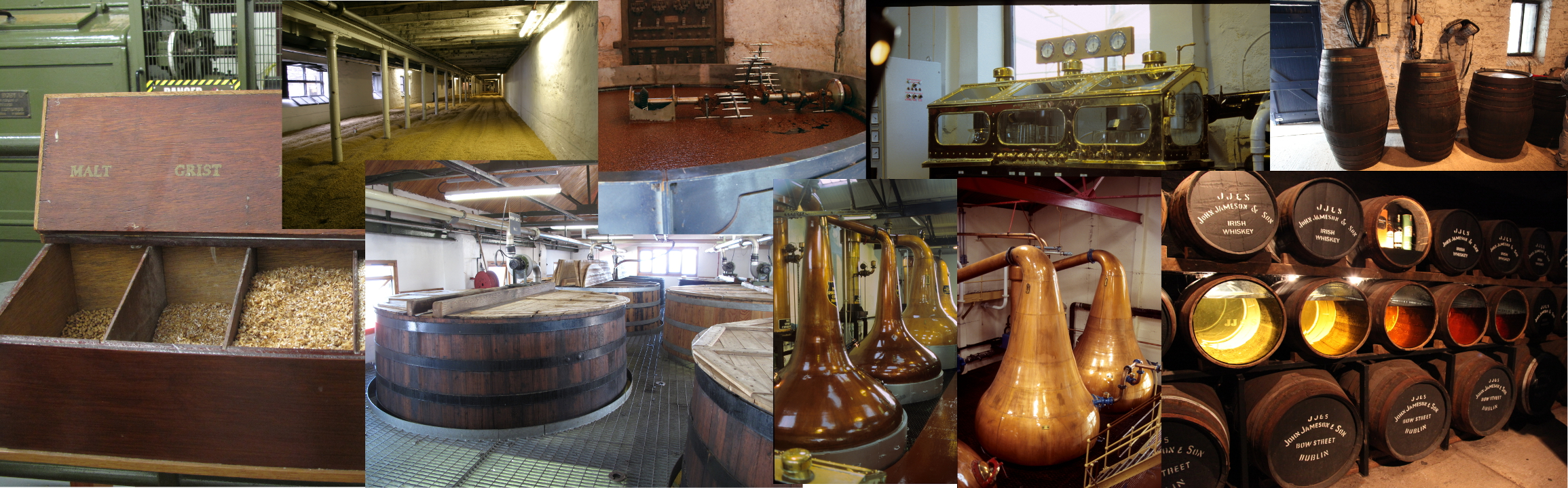 This picture shows the production steps of single malt whisky