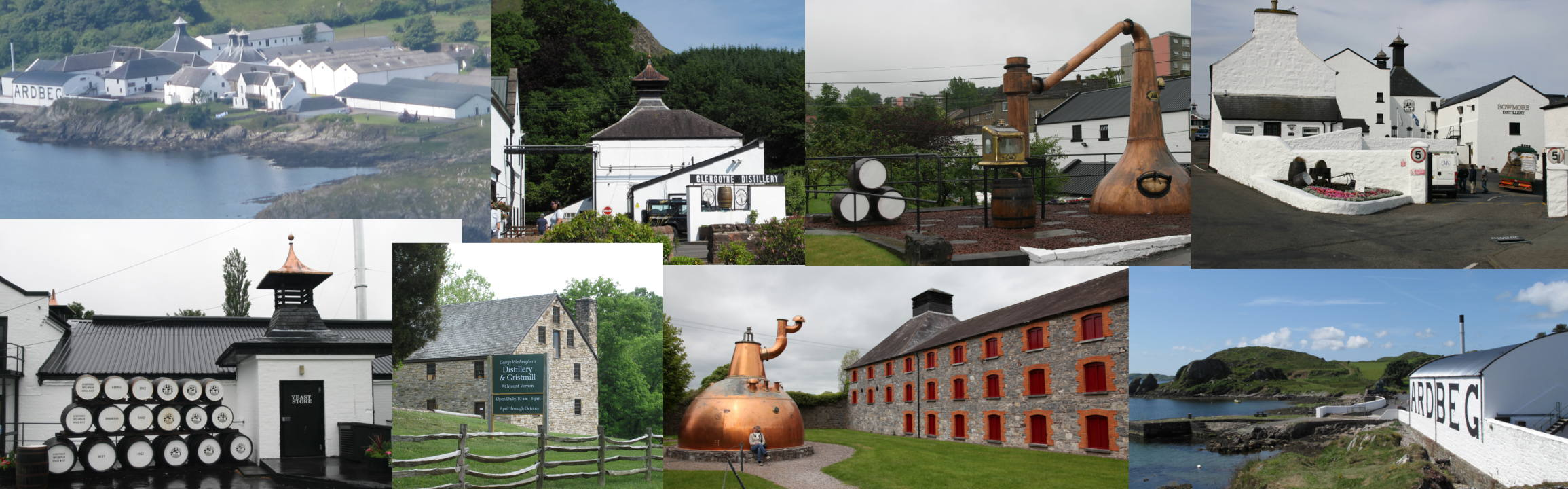 This picture shows a compilation of whisky distilleries