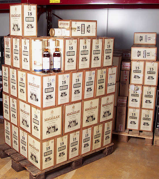 A pallet of Macallan 18 y.o. with two bottles on top