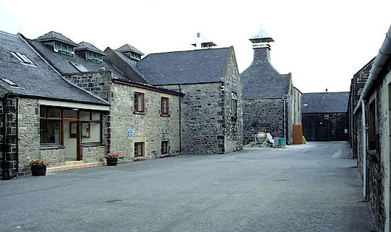 View inside the courtyard of the Inchgower distillery.