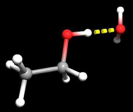 An 3d image of ethanol and water on a molecular basis