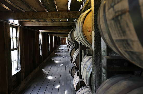 Inside of the Bardstown warehouses of Heaven Hill