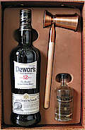 Dewars with Pure Pitilie Burn Water from the Scottish Highlands and a Measure for the Perfect Serve