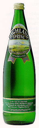 The famous Highland Spring water in a green bottle