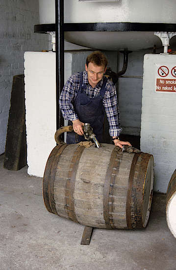 Filling the whisky casks at Glenturret with new spirit