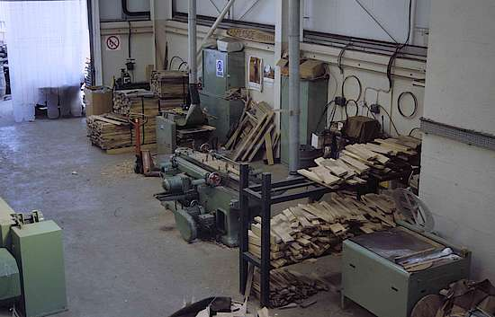 The processing of wood on the shop floor