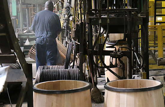 Bending of the staves into barrel shape