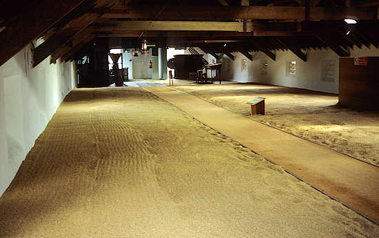 The malting floor of the distillery.