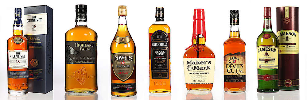Scotch (Glenlivet 18, Highland Park Darakka) Irish (Powers Gold, Bushmills Black Bush) Bourbon (Makers Mark)