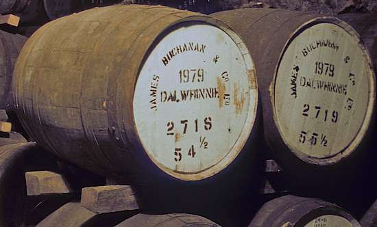 Wooden barrels at the Dalwhinnie distillery