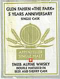 "Säntis Malt Private Cask 5 years anniversary Glen Fahrn ""The Park"""