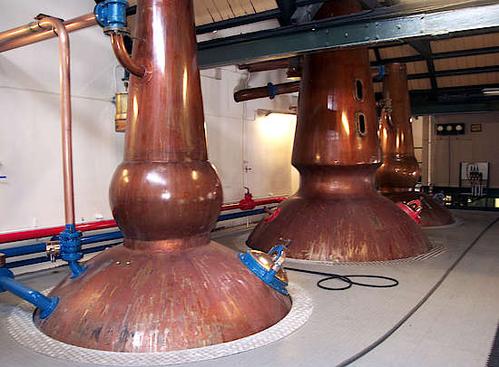 The pot stills of the Cragganmore distillery.