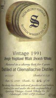 The Label of Glenallachie Signatory 1991
