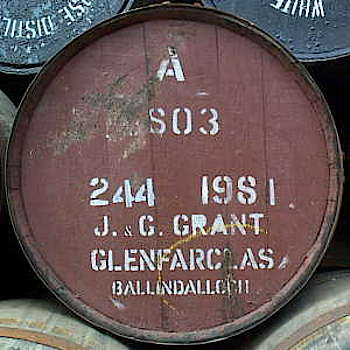 A lid of a sherry cask labeled with Glenfarclas