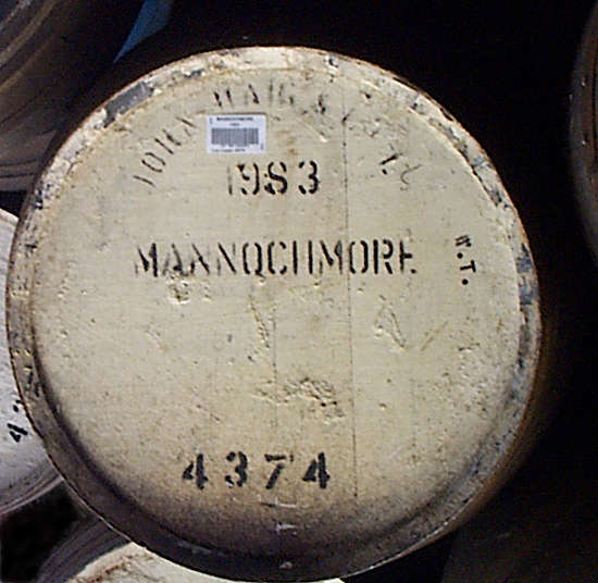 A cask at the Mannochmore distillery