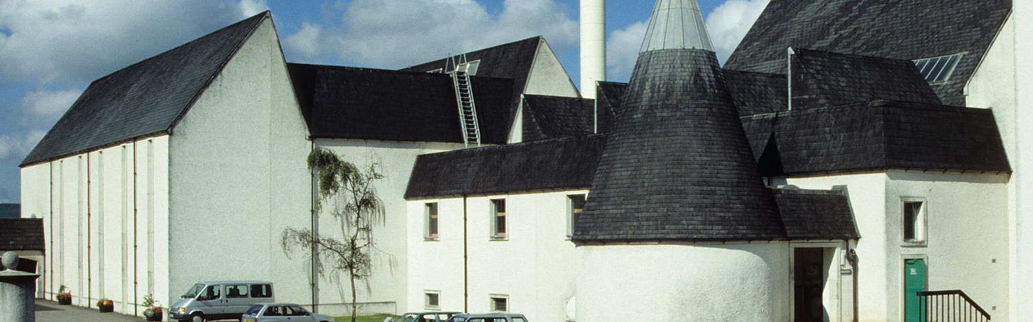 The white buildings of the Auchroisk distillery.