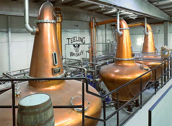 The pot stills at the Teeling distillery