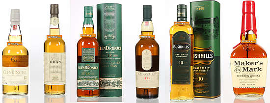 A compilation of bottles, Glenkinchie 12, Oban 14, Glendronach 15, Lagavulin 16, Bushmills 10, Makers Mark