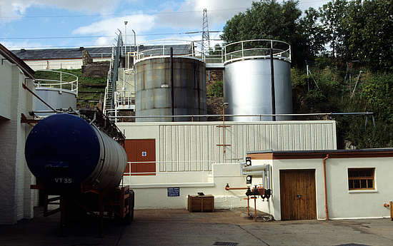 Crude oil tanks outside the distillery.