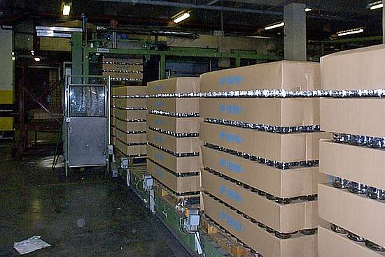 The storage of empty bottles at the Chivas bottling