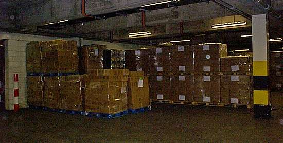 The cap storage at the Chivas bottling