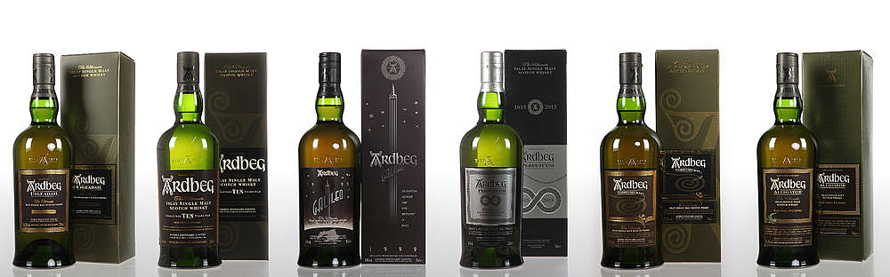 Some bottles of the Ardbeg range.