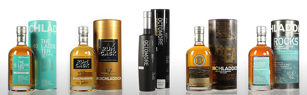 Some bottles of the Bruichladdich range.