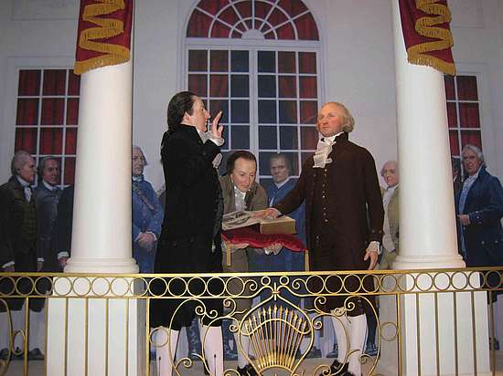 A picture of George Washington taking his oath