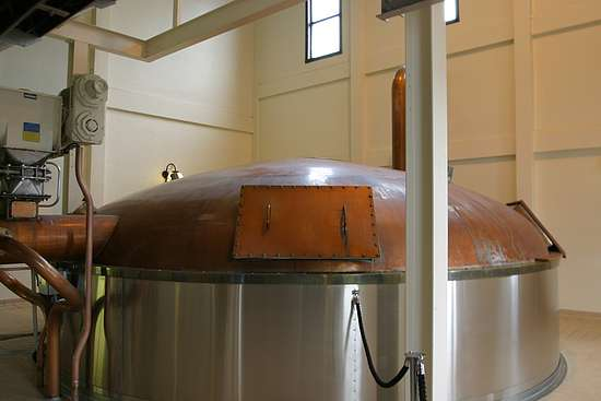 the talisker mashtun, stainless steel walls with a round copper lid