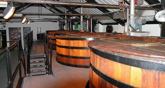 3 wooden washbacks in a row at the Auchentoshan distillery
