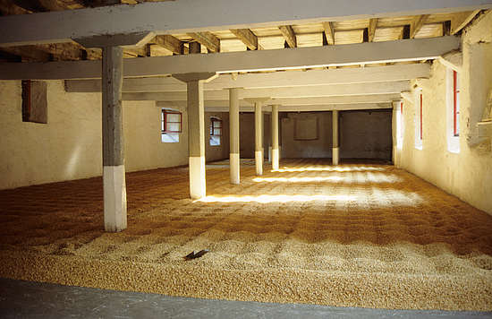 The malting floor inside the distillery.