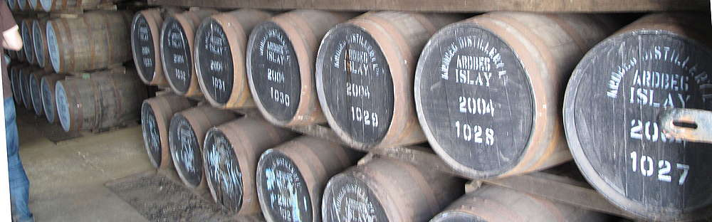 Ardbeg spirit maturing in oak casks