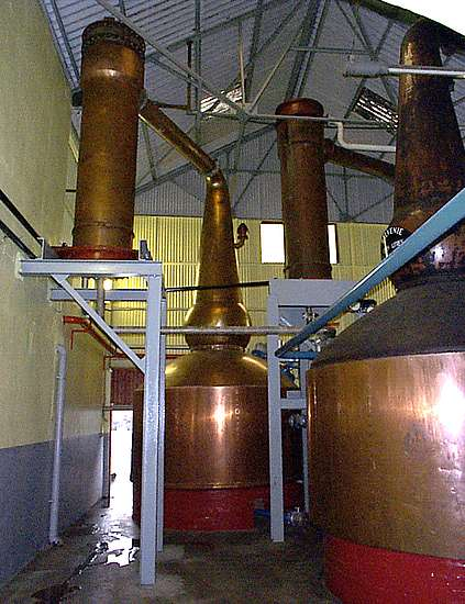 The pot stills of the Balvenie distillery.