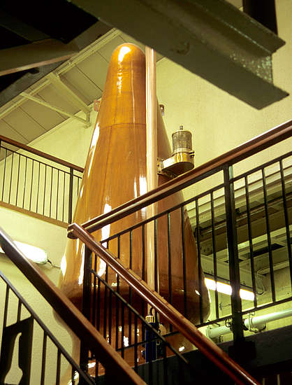 The pot stills of the Oban distillery.