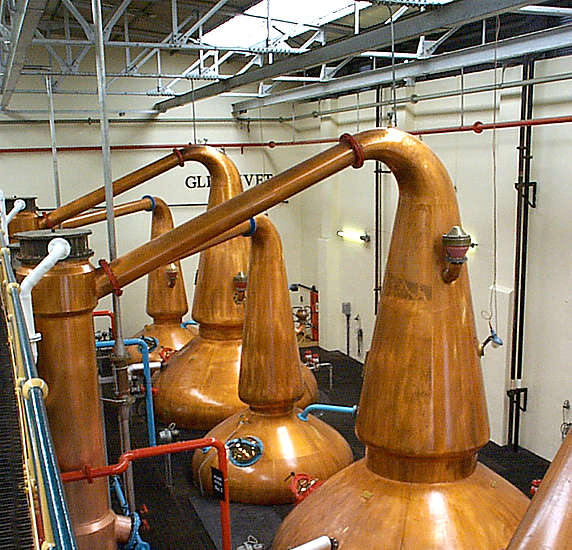 The pot stills of the Glenlivet distillery.
