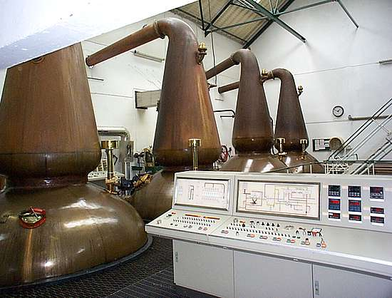 The pot stills and the electric control system.