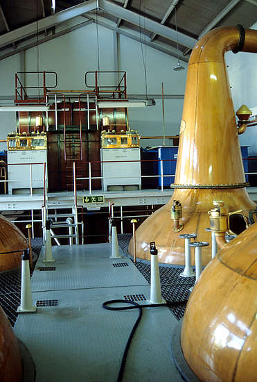 The pot and spirit stills of the Glenallachie distillery.