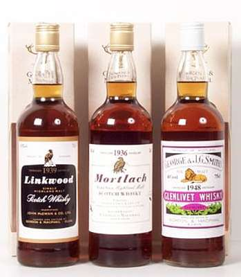 A picture of a bottle of Linkwood, Mortlach 1936 and Glenlivet 1948