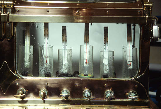 Glenfarclas - Spirit safe with hydrometers and thermometers