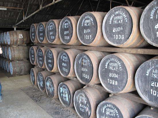 The Ardbeg dunnage from the inside. Casks storing 3 rows high