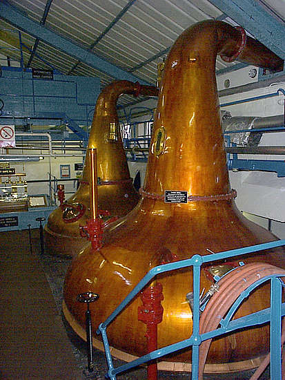 The wash stills of the Glenburgie distillery.