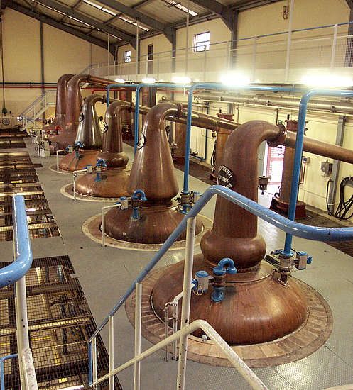 The wash and spirit stills of the Glenfiddich distillery.