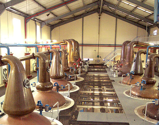 The stillhouse of the Glenfiddich distillery