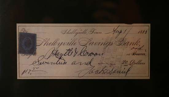 An old check with the signature of Jack Daniel's