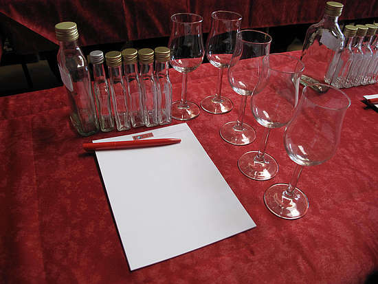Sample bottles, Notepat and a pen, Tasting glasses