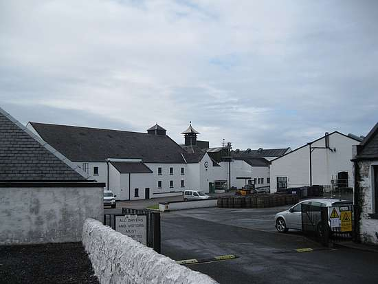 The view on the Laphroaig distillery from the street.