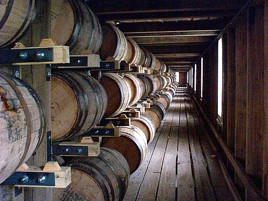 Inside a Jack Daniel's warehouse