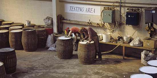 The testing of the finished cask with air pressure